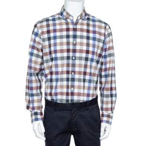 Balmain Paris Multicolor Gingham Checked Cotton Button Down Shirt L