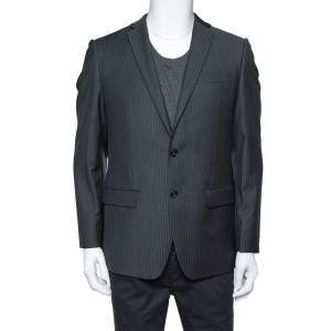 Balmain Charcoal Grey Pinstriped Wool Slim Fit Blazer M