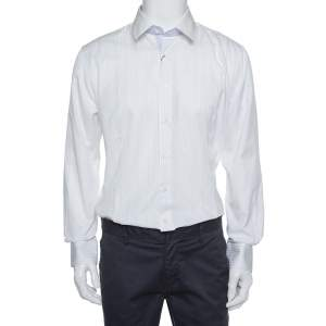Balmain White Striped Cotton Button Front Slim Fit Two Ply Shirt L