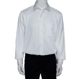 Balmain White Striped Cotton Long Sleeve Button Front Two Ply Shirt L