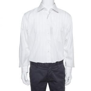 قميص بالمين تو بلاي أزرار أمامية أكمام طويلة قطن مخطط كريمي مقاس كبير