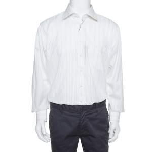 قميص بالمين تو بلاي قطن كريمي مخطط بأكمام طويلة أزرار أمامية كبير