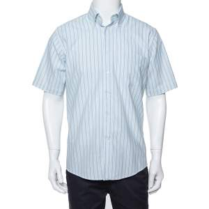 Balmain Tricolor Striped Cotton Short Sleeve Shirt M