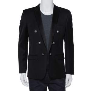 Balmain Black Wool Button Front Open Blazer XL