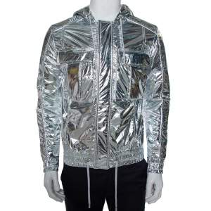 Balmain Metallic Synthetic Drawstring Hooded Jacket XS