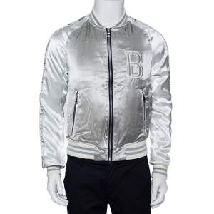 Balmain Silver Satin Logo Embroidered Medallion Bomber Jacket XS