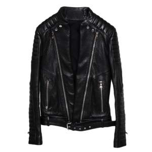 Balmain Black Leather Front Open Belted Waist Detail Moto Biker Jacket S