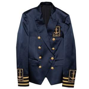 Balmain Navy Blue Logo Embroidered Silk Satin Double Breasted Blazer S