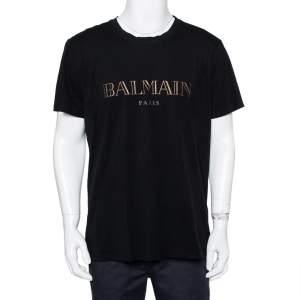 Balmain Black Metallic Logo Printed Crewneck T-Shirt XXL