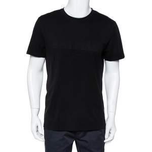 Balmain Black Logo Embossed Cotton Knit Crewneck T-Shirt L