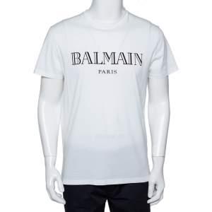 Balmain White Cotton Logo Velvet Printed Crewneck T-Shirt L