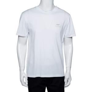 Balmain White Cotton Logo Patch Detail Crewneck T-Shirt L