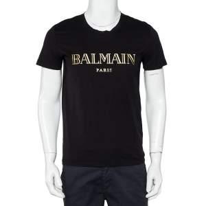 Balmain Black Cotton Metallic Logo Printed Crewneck T-Shirt M