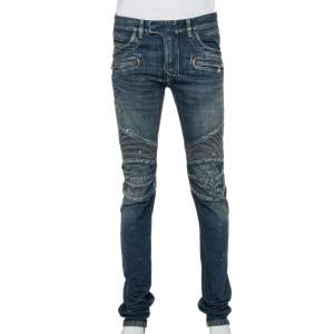 Balmain Navy Blue Denim Biker Jeans M