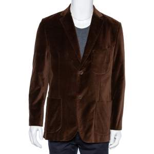 Balmain Vintage Brown Velvet Button Front Blazer XL