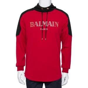 Balmain Red & Black Logo Printed Cotton Hoodie L