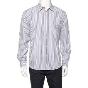 Balmain White Striped Cotton Button Front Shirt L