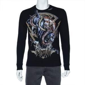 Balmain Black Panther Logo Print Cotton Zip Detail Sweatshirt S
