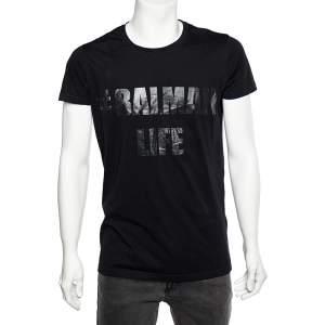 Balmain Black Logo Printed Cotton Crewneck T-Shirt M