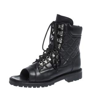 Balmain Black Quilted Leather Lace up Open Toe Boots Size 40