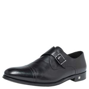 Balmain Black Leather Brogue Detail Single Monk Strap Shoes Size 41