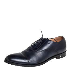 Balmain Two Tone Navy Blue/Black Leather Oxfords Size 43