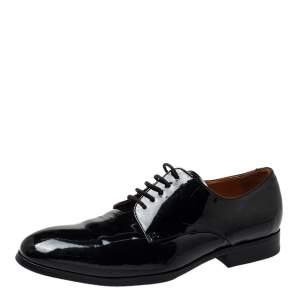 Balmain Black Patent Leather Lace Up Oxfords Size 42