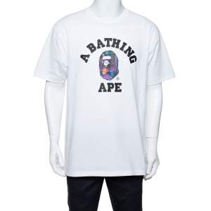 A Bathing Ape White City Logo Print Cotton Crew Neck T-Shirt XL