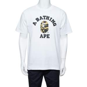 A Bathing Ape White Camo Logo Print Cotton Crew Neck T-Shirt L