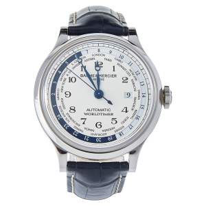 Baume & Mercier White Stainless Steel & Leather Capeland Worldtimer Men's Wristwatch 44mm