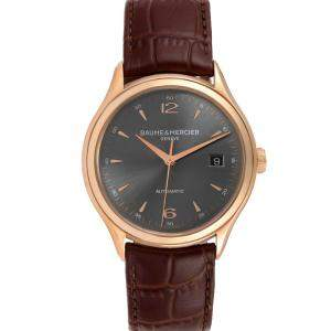 Baume Grey 18K Rose Gold Mercier Clifton 10059 Men's Wristwatch 39 MM