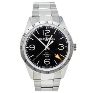 ساعة يد رجالية بيل & روس فينتدج بي أر123 جي إم تي أوتوماتيك ستانلس ستيل سوداء 42 مم