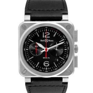 ساعة يد رجالية بيل & روس أفياشن كرونوغراف BR0394  ستانلس ستيل سوداء 42 مم