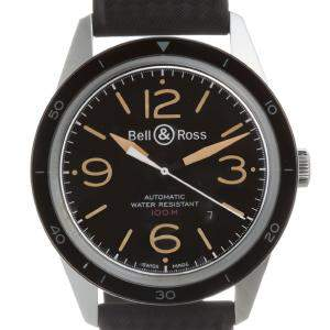 Bell & Ross Black Stainless Steel Sports Heritage BR123-93 Vintage Men's Wristwatch 43 MM