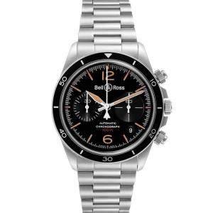 Bell & Ross Black Stainless Steel Heritage Chronograph BRV294 Men's Wristwatch 41 MM