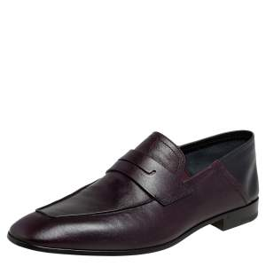 Berluti Burgundy Leather Lorenzo Penny Slip On Loafers Size 43