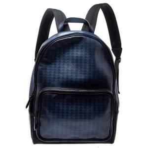 حقيبة ظهر بيرلوتي جلد مطبوع اومبري أسود و أزرق