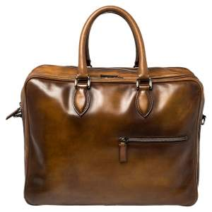 Berluti Brown Venezia Leather Deux Jours Briefcase