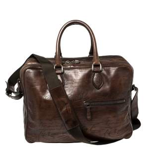 Berluti Mocha Brown Scritto  Leather Briefcase Bag