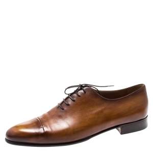 Berluti Cognac Brown Leather Signature Stitched Slash Oxfords Size 44