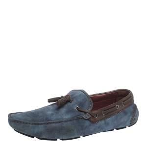 Berluti Blue Shaded Suede Loafers Size 44