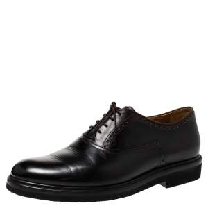 Berluti Black Leather Lace Up Oxfords Size 42