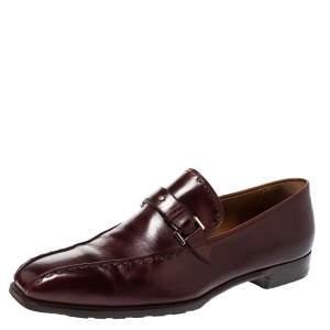 حذاء لوفرز بيرلوتي سليب أون تفاصيل ستيتش وسير وجه جلد بوردو مقاس 45