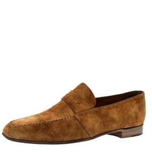 Berluti Brown Suede Leather Andy Slip On Loafers Size 45