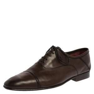Berluti Dark Brown Leather Signature Stitched Oxfords Size 41.5