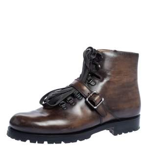 Berluti Brown Leather 'Brunico Bolzano' Lace Up Ankle Boots Size 41.5