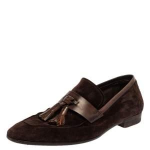 حذاء لوفرز بيرلوتي سويدي بني بشراشيب مقاس 42
