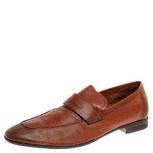 Berluti Brown Leather Lorenzo Loafers Size 42.5