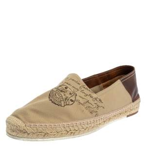 Berluti Beige/Brown Canvas and Leather Logo Slip on Espadrilles Size 40