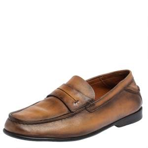 Berluti Brown Leather Penny Loafers Size 40